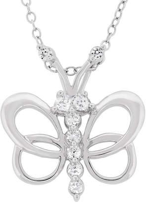 FINE JEWELRY Diamonart Womens 5/8 CT. T.W. White Cubic Zirconia Sterling Silver Butterfly Pendant Necklace