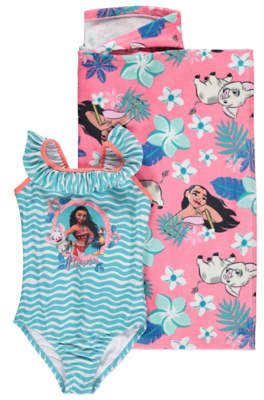 Disney Moana Hooded Towel Poncho Swimsuit Set