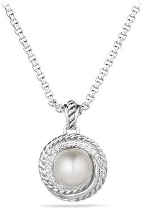 David Yurman Pearl Crossover Pendant with Diamonds on Chain