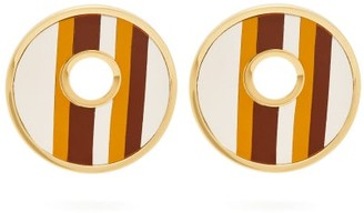 Marni Open Circle Leather Striped Earrings - Womens - Brown