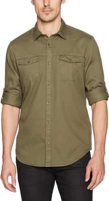 Calvin Klein Jeans Men's Long Sleeve Roll up Dobby Mixed Media Button Down Shirt