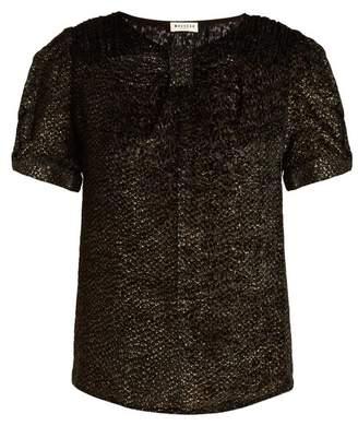 Masscob Short-sleeved round-neck patterned velvet top