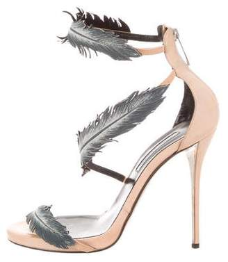 Oscar de la Renta Feather Ankle Strap Sandals