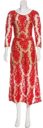 For Love & Lemons Mesh Embroidered Dress Tan Mesh Embroidered Dress