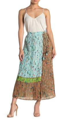 Let Me Be Live it Up Floral Colorblock Pleated Maxi Wrap Skirt