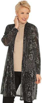 GRAVER Susan Graver Metallic Jacquard Knit Duster