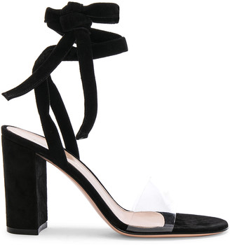 Gianvito Rossi Leather & Plexi Strappy Sandals in Transparent & Black | FWRD