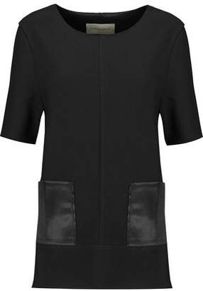 By Malene Birger Satin-Paneled Crepe Top