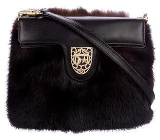 Kieselstein-Cord Leather-Trimmed Mink Shoulder Bag