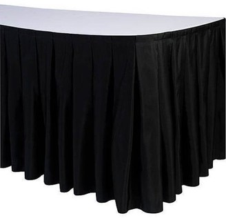 Generic Accordion Polyester Table Skirt, White
