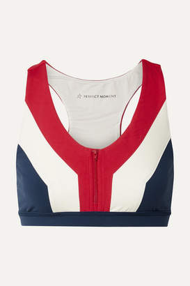 Perfect Moment Vale Rainbow Color-block Stretch Sports Bra - Navy