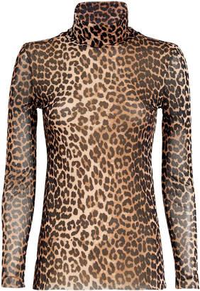 Ganni Printed Mesh Leopard Turtleneck
