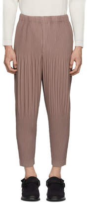 Issey Miyake Homme Plisse Pink Cropped Wide Pleat Trousers