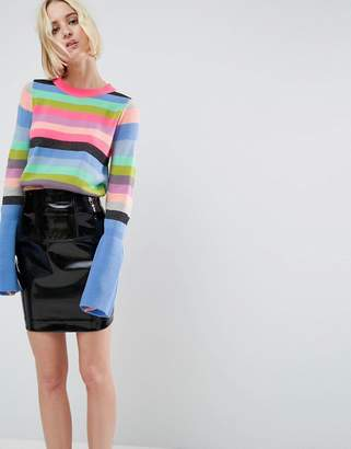 Asos Design Jumper with Multi Stripe and Fluted Sleeves