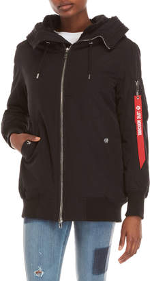 Love Moschino Black Faux Fur Hooded Coat