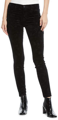 J Brand 815 Mid-Rise Velvet Skinny Jeans with Floral Embossing