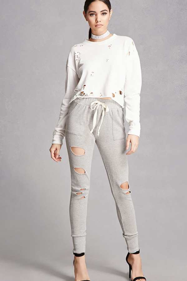 FOREVER 21+ Distressed Knit Sweatpants
