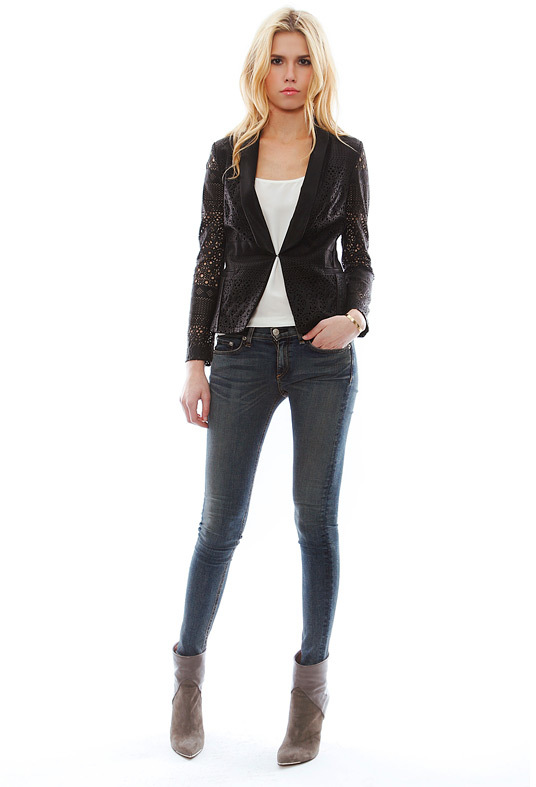 Dolce Vita Tacey Laser Cut Faux Leather Blazer