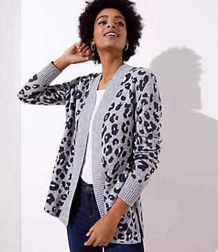 LOFT Leopard Open Cardigan