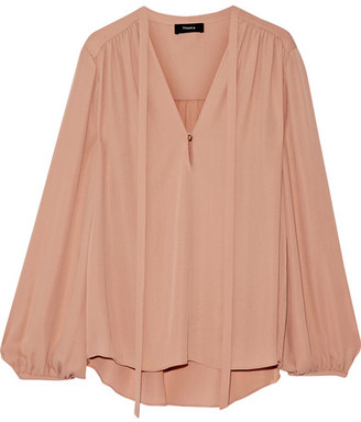 Theory - Bernetta Pussy-bow Silk Blouse - Blush $295 thestylecure.com