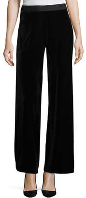 Joan Vass Plus Size Velvet Wide-Leg Pants