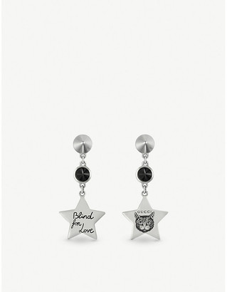 d12928311a8 Gucci Blind for Love star-shaped sterling silver and black spinel earrings