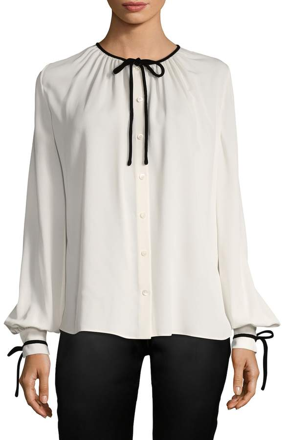 Tom Ford Women's Solid Silk Tie Blouse