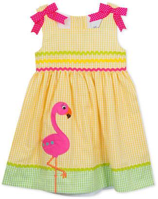Rare Editions Flamingo Gingham Seersucker Dress, Little Girls