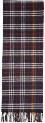 Burberry Navy Cashmere Rainbow Check Scarf