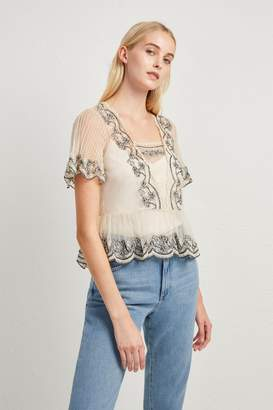 French Connenction Edevia Lace Peplum Top