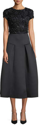 Emporio Armani Cap-Sleeve Fit-and-Flare Cocktail Dress w/ Embellished Top & Neoprene Skirt