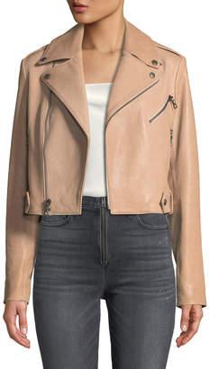 Alice + Olivia Cody Crop Lamb Leather Moto Jacket