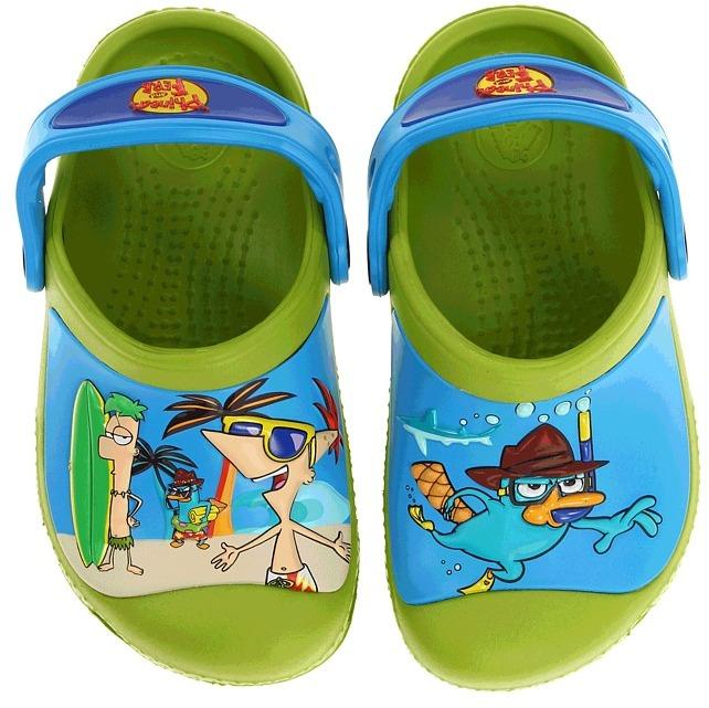 Crocs SS13 CC Phineas Ferb Clog (Toddler/Little Kid) (Volt Green/Ocean) - Footwear