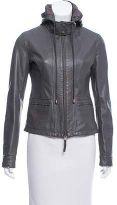 Joie Hooded Leather Jacket