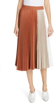 Clu Colorblock Pleated Midi Skirt