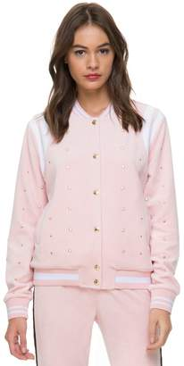Juicy Couture Velour Faux Pearl Embellished Bomber Jacket