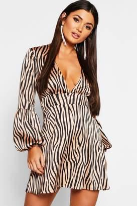 boohoo Zebra Satin Blouson Sleeve Skater Dress