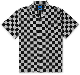 Beams Camp-Collar Checkerboard Lyocell-Blend Jacquard Shirt