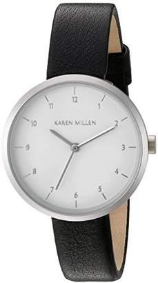Karen Millen Women's Quartz Brass-Plated-Stainless-Steel and Leather Dress Watch