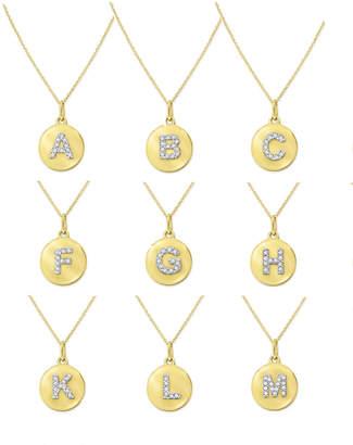 KC Designs 14k Yellow Gold Diamond Disc Initial Necklace