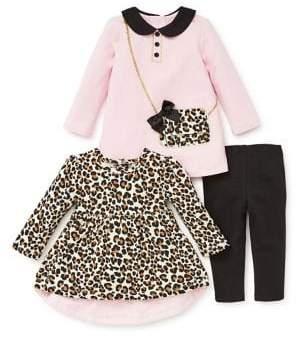 Little Me Baby Girl's Three-Piece Leopard Dress Set