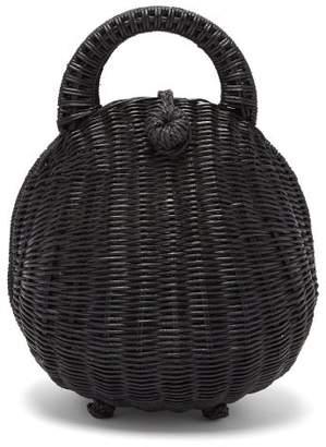 Cult Gaia Millie Rattan Top Handle Basket Bag - Womens - Black