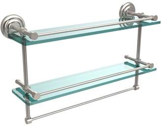 """Allied Brass 22"""" Gallery Double Glass Shelf with Towel Bar (Build to Order)"""