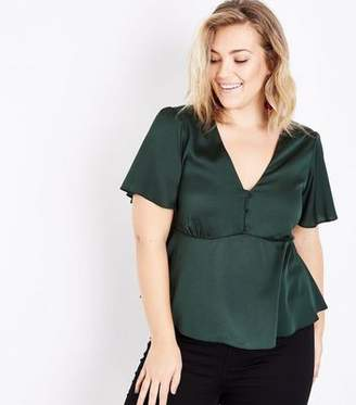 New Look Curves Dark Green Satin Button Front Blouse