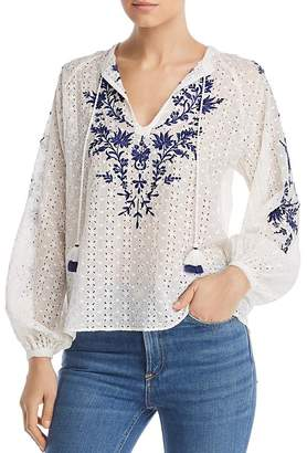 Johnny Was Ramona Embroidered Pointelle Blouse