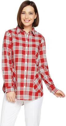 Joan Rivers Classics Collection Joan Rivers Plaid Shirt with Back Button Detail