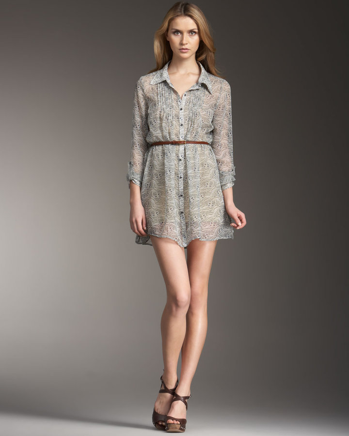 Patterson J. Kincaid Chiffon Ditsy-Print Shirtdress