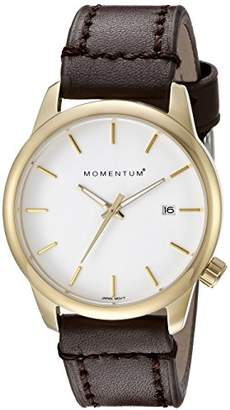 Momentum Women's Quartz Watch Logic 36 by IP Gold Stainless Steel Watches for Women Sports Watch with Japanese Movement & Analog Display Water Resistant Women's Watch with Date – Leather