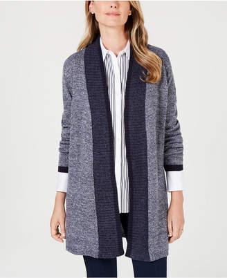 Karen Scott Contrast-Trim Open-Front Cardigan, Created for Macy's