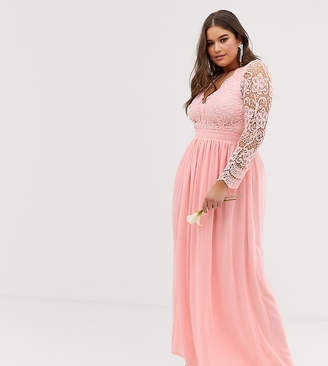 6ec37c4998885 Club L London Plus Plus bridesmaid long sleeve crochet detail maxi dress